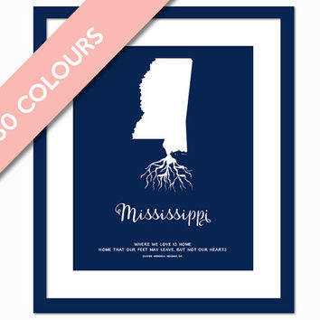 Mississippi Roots - State Map Art Print - Mississippi Map - Geography - Mississippi Art Print - Mississippi Poster - Travel - Custom State