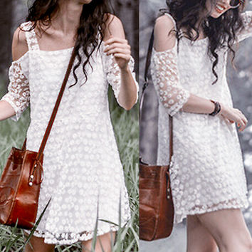 White Off Shoulder Embroidered Lace Dress
