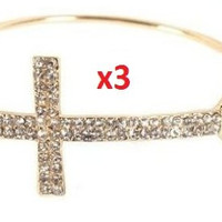 3 Pieces of Goldtone with Clear Iced Out Cross Metal Bangle Bracelet