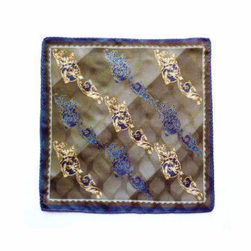 1970s Elegant Brocade 100% Silk Pocket Square Italian Textile Fabric in Blue Beige Gold and Gray Hand Finished
