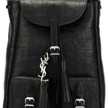 ysl logo bag - small festival backpack in black crocodile embossed leather