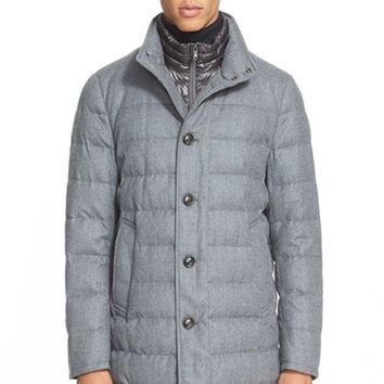 Men's Moncler 'Vallier' Quilted Wool Down Topcoat,