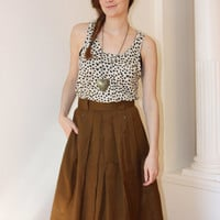 Vintage Steilman A line, pleated brown skirt; size S; midi length