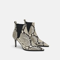 PRINTED LEATHER HIGH-HEEL ANKLE BOOTS DETAILS