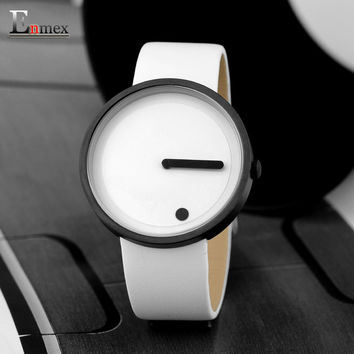 2017gift Enmex black & white Minimalist style wristwatch creative design Dot and Line simple stylish with  quartz  fashion watch