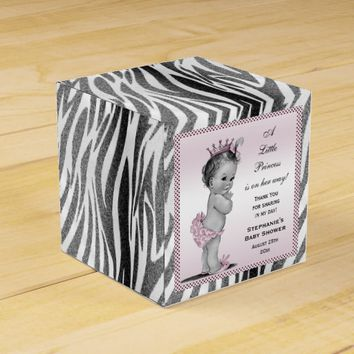 Personalized Vintage Princess Baby Shower Zebra Favor Boxes