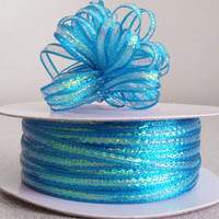 Iridescent Pull Bow Ribbon, 1/8-inch, 50-yard, Turquoise