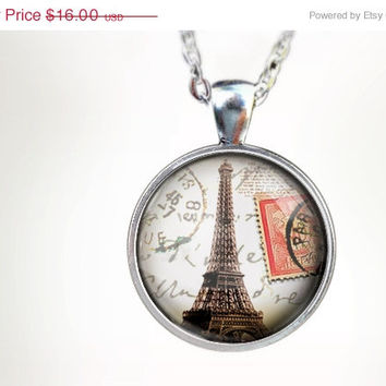 ON SALE - Paris Sunset : Glass Dome Necklace by HomeStudio. 24 inch chain included. Round art pendant jewelry. Eiffel Tower necklace. Paris
