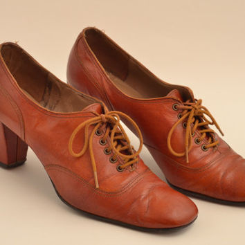 Vintage Lace Up Oxford Heels Booties Rich Caramel Brown Sz 7