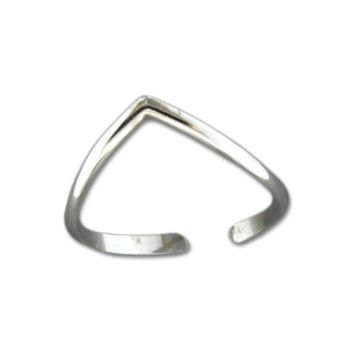 V Adjustable Toe Ring - Sterling Silver