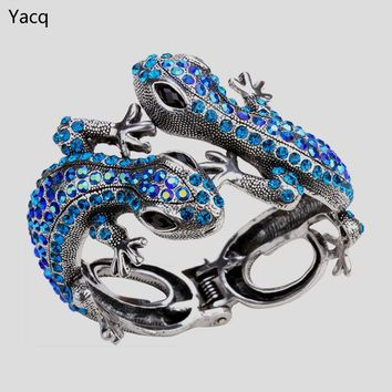 YACQ Gecko Bangle Bracelet for Women Her Antique Gold Silver Color Animal Bling Crystal Jewelry Gifts ping A08