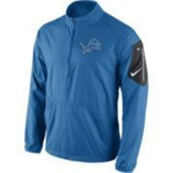 ESBON NFL Nike Detroit Lions Mens Lockdown Half Zip Jacket-Blue