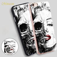 Minason marilyn monroe skull face Mobile Phone Shell Soft TPU Silicone Case Cover for iPhone X 8 5 SE 5S 6 6S 7 Plus