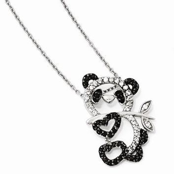 Sterling Silver CZ Panda Teddy Bear Necklace