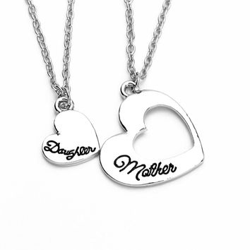 Europe romantic hollow mother daughter love heart pendant necklace women letters lover heart necklace as Mother's Day gift