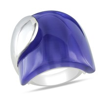 35 Carat Synthetic Blue Cat Eye Fashion Ring in Sterling Silver