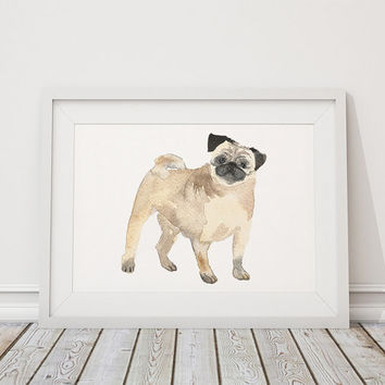 Pug poster Cute nursery decor Watercolor dog print ACW107