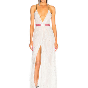 Alessandra Rich Crystal Embroidered Plunging Lace Gown in White | FWRD