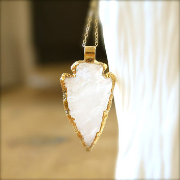 Large Quartz Arrowhead On Long Gold Necklace