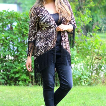 Cheetah Print Kimono Cardigan in Black/Brown