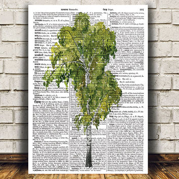Tree print Birch tree poster Watercolor art Dictionary print RTA1262