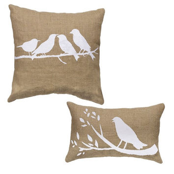 Birds On A Branch - Burlap Accent Throw Pillow Set (14x14 square and 10x6 oblong)