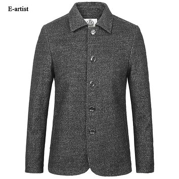 Men's Slim Fit Casual Wool Coats Jackets Male Winter Thicken Warm Parkas Pea coat Outerwear Overcoats