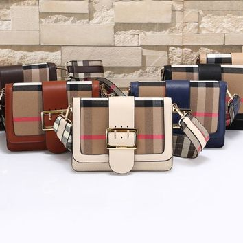 Burberry Fashion Women Plaid Belt Buckle Style Color Edge Bag Coffee