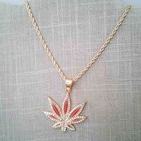 Red & Gold Plate Crystal Cannabis Leaf Pendant