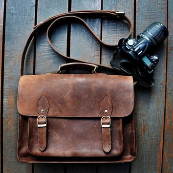 Brown Leather Camera Bag / Travel camera Bag / Camera Case / Camera Satchel / leather Messenger bag / Leather Satchel