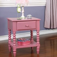 Lindsey collection pink finish wood children's nightstand side table with drawer