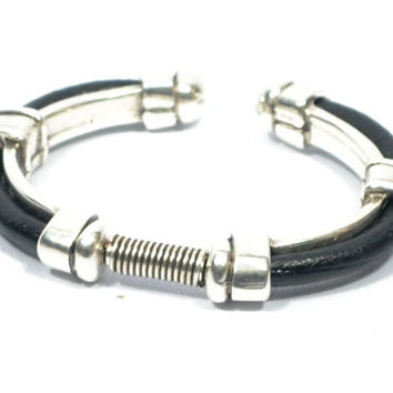 cool mens gifts * silver bracelet * brown leather bracelet * adjustable bracelet * gifts for men * zamak black bracelet