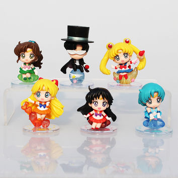 Sailor Moon Tsukino Usagi Tuxedo Mask Sailor Venus Mercury Mars Jupiter PVC Figures Toys 6pcs/set Free Shipping