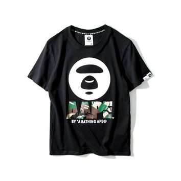 Couple Short Sleeve Print Black Round-neck T-shirts [211438698508]