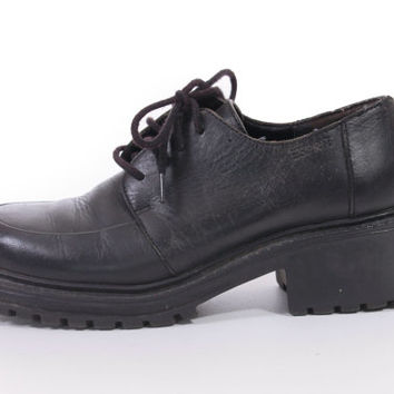 90s Esprit Leather Ankle Boots Chunky Platform Heeled Lace Up Oxford Shoes Grunge Goth Hipster Womens Size US 7 UK 5 EUR 37-38