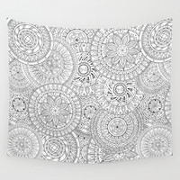 Circle Doodle Art Wall Tapestry by Kate & Co.