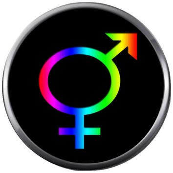 Black Background With Transgender Symbol Colorful Rainbow Pride Gay Lesbian Transgender Pride LGBT LGBTQ 18MM - 20MM Snap Jewelry Charm