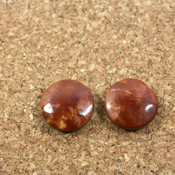 Red Creek Jasper Matched Pair - Red Orange and Yellow Round Cabochon Beads, 1 pair