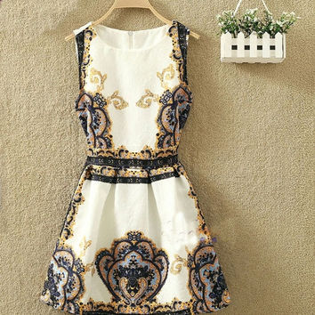 Women's Plus Size Round Collar Vintage Print Slim Sleeveless A-line Dresses£¨Asian Size£© = 1932560196