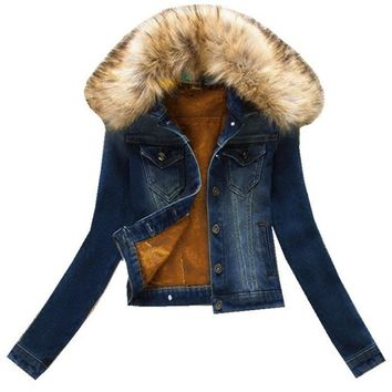 Cool 2018 new fashion brand women denim coat girl denim jacket large faux fur thick lining Big fur jacket keep warm ZY3442AT_93_12