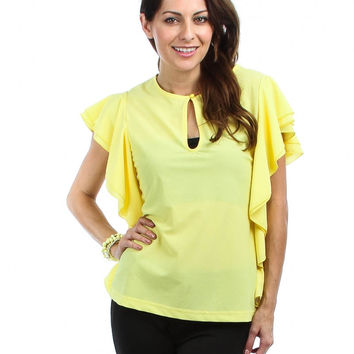 YELLOW WOOL DOBBY RUFFLE SHIRT WITH KEYHOLE FRONT
