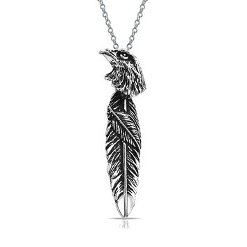 Native Style Eagle Feather Leaf Pendant Sterling Silver Necklace
