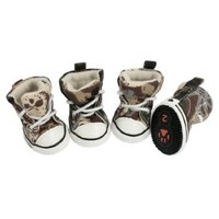 Size 2 Pet Brown Beige Camouflage Prints Sneaker Boots Dog Shoes 4 Pcs