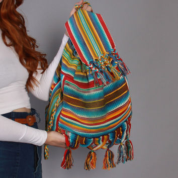 80s Bright ETHNIC Festival BACKPACK / 1980s South American Woven Cotton Fringe Tassel Daypack Purse