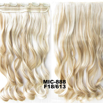 Bath & Beauty 5 Clip in synthetic hair extension hairpieces wavy slice curly hairpiece MIC-888 F18/613,Hair Care,fashion Cosplay ombre 1PCS