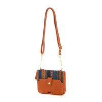 Camel Faux Leather and Boho Stripe iPhone 6 Crossbody Bag
