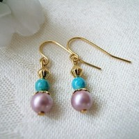 Pink Rose Swarovski Pearl Earrings Turquoise Riverstone Brass Beads 1""