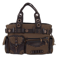 Banned Vintage Steampunk Brown Striped Belted Key Charm Handbag