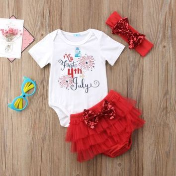 3Pcs /set Baby Girl My First 4th of July Romper  Tutu Shorts Bottom Mesh Headbands Outfits Set Clothes
