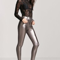 Faux Leather-Coated Pants